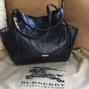 Black Leather Burberry Tote